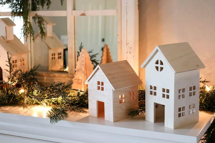Diy Wooden Christmas Village Addicted 2 Diy Diywoodenchristmasvillage Diyprojects Diyideas Wooden Christmas Decorations Wooden Diy Diy Christmas Village