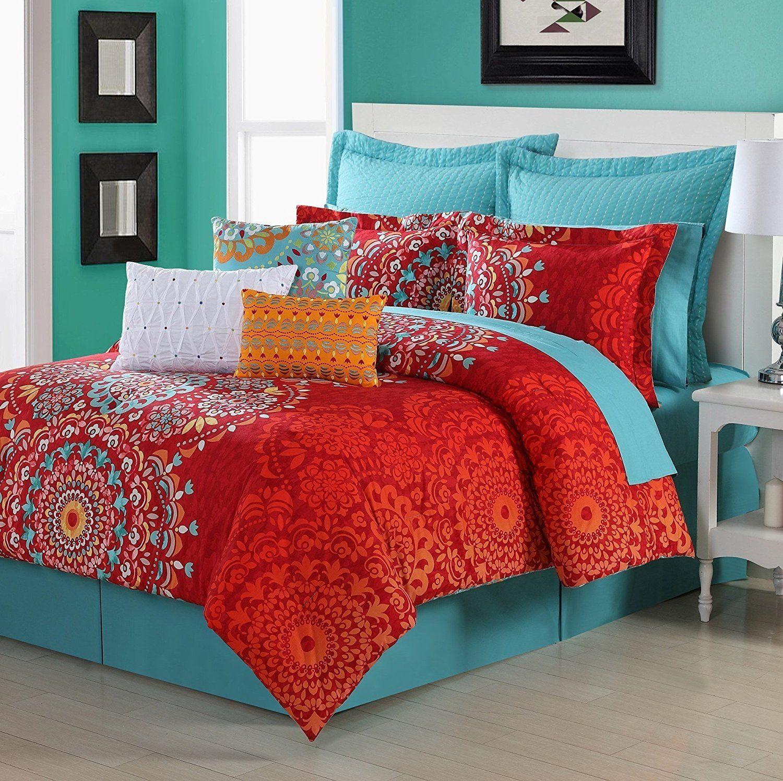 Red Medallion Comforter Twin Set Bohemian Boho Chic Hippy Bedding
