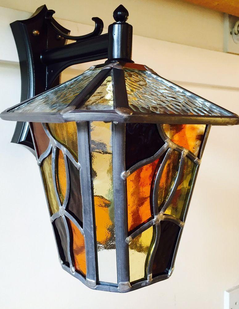 Coniston Lantern Stained Gl Amber Handmade Leaded Light