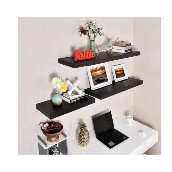 36 Inch Grande Floating Wall Shelf Black Black Color For 39 99 In Wall Shelves Wall Shelves Shelves Decorative Shelving