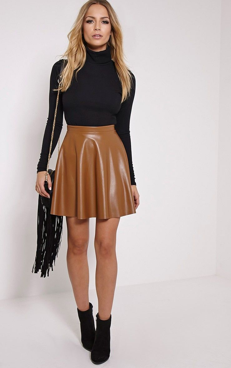 innovative black leather skater skirt outfit 9