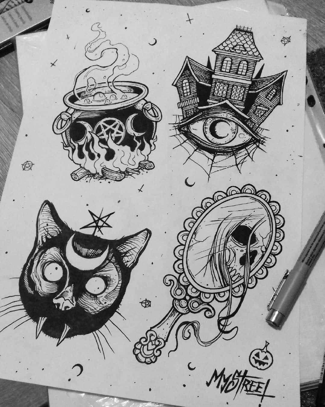 My Halloween flash tattoo designs🎃💀😊 mystreet