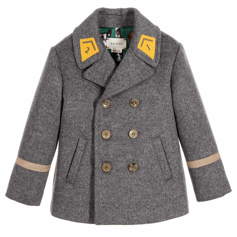 6aa167304 Gucci Baby Boys Grey Wool & Cashmere Pea Coat at Childrensalon.com ...