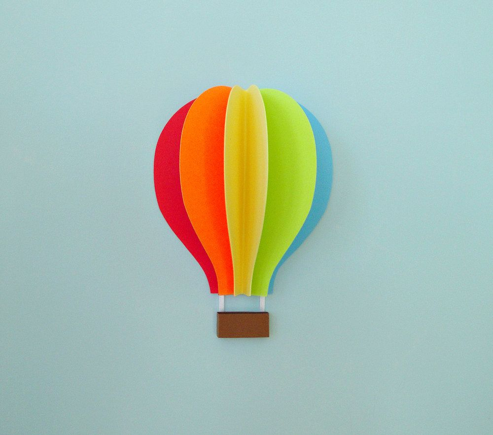 Hot Air Balloon Wall Decal, Paper Wall Art, Wall Decor, 3D Wall ...