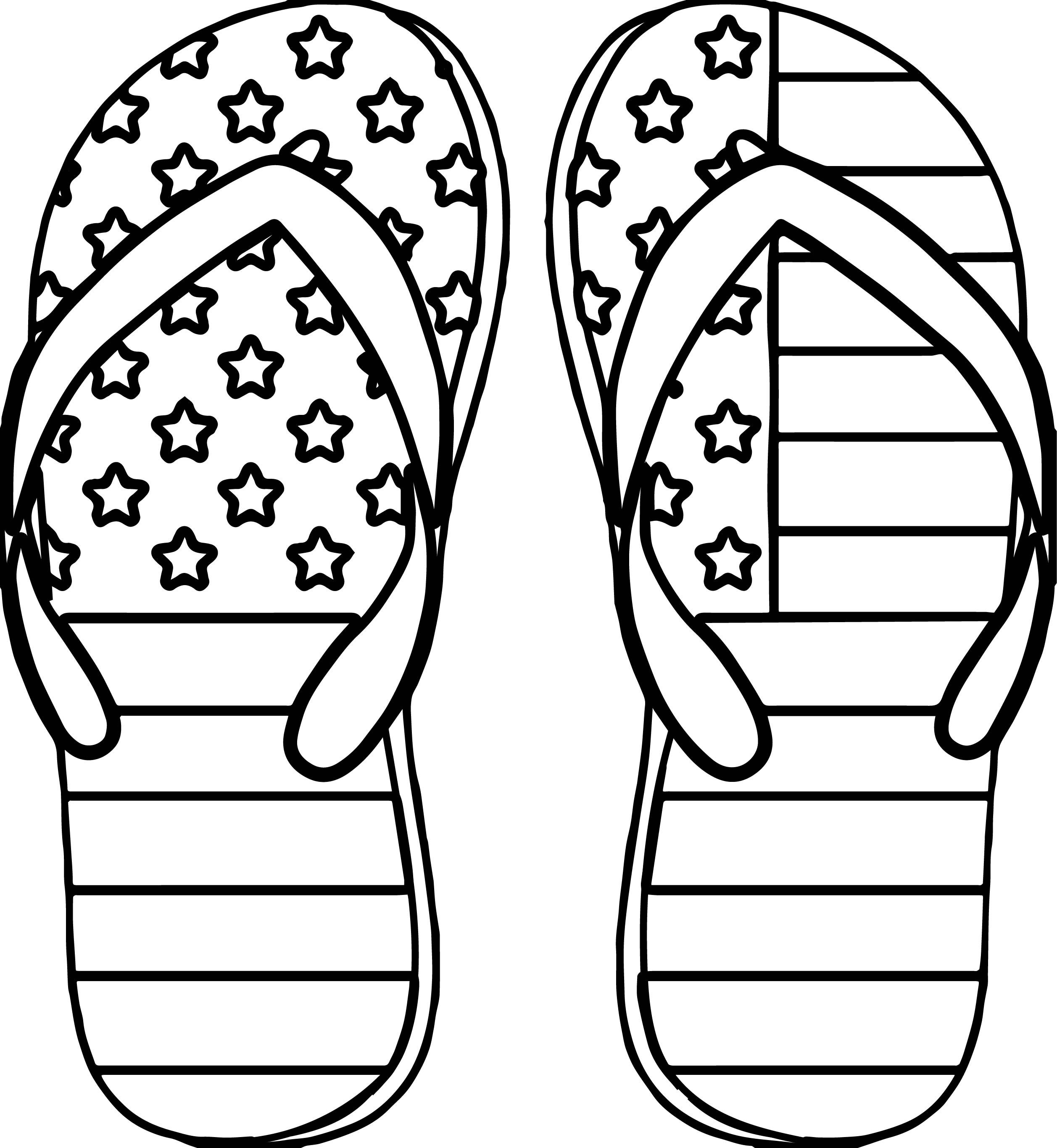 Awesome 4th July Slipper Coloring Page Easy Coloring Pages
