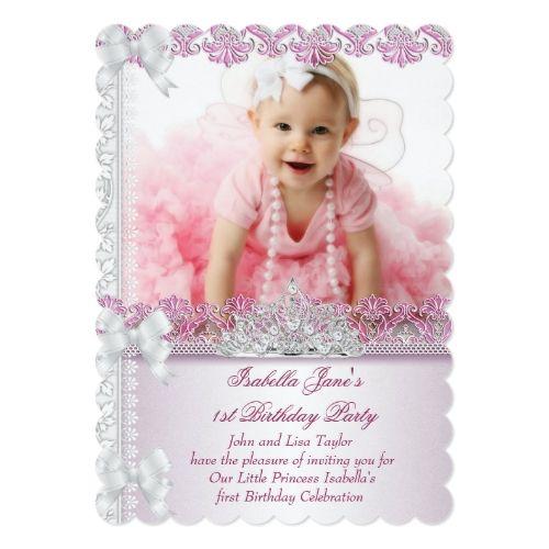 First 1st birthday party girl princess pink photo invitation photo girls 1st birthday party invitations first 1st birthday party girl princess pink photo card stopboris Choice Image