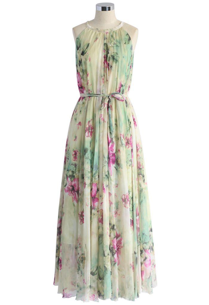 Flower Lullaby Maxi Slip Dress - Dress