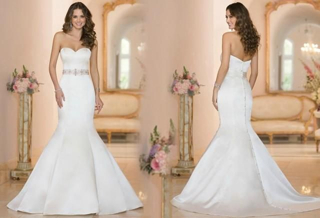 2015 New Arrival Sweetheart Beaded Sash Satin Mermaid Wedding Dresses Covered Button Court Train Bridal Gowns Dresses Online with $120.16/Piece on Hjklp88's Store
