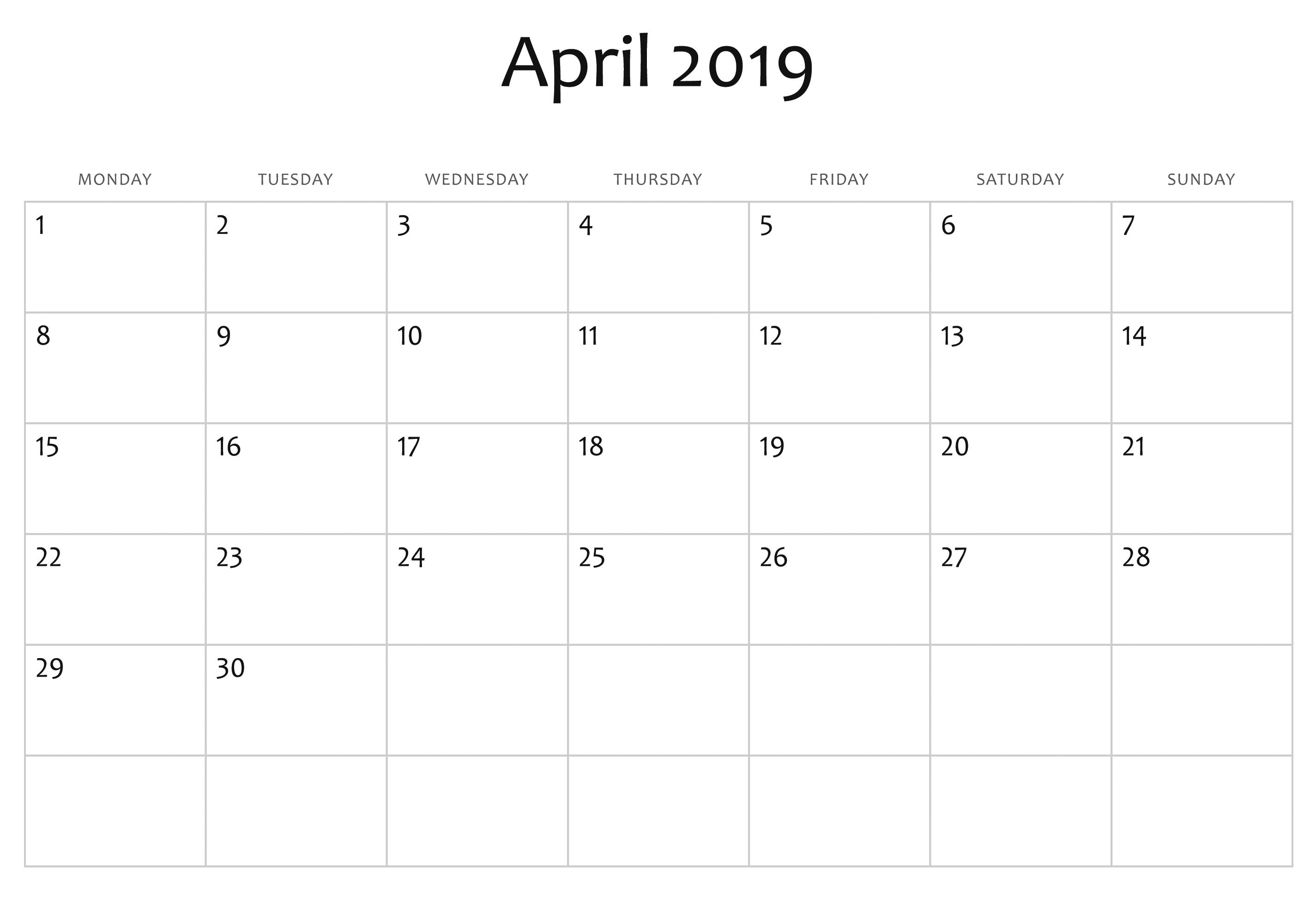 Fillable 2019 Calendar Fillable Blank April 2019 Calendar Printable Template #Tumblr