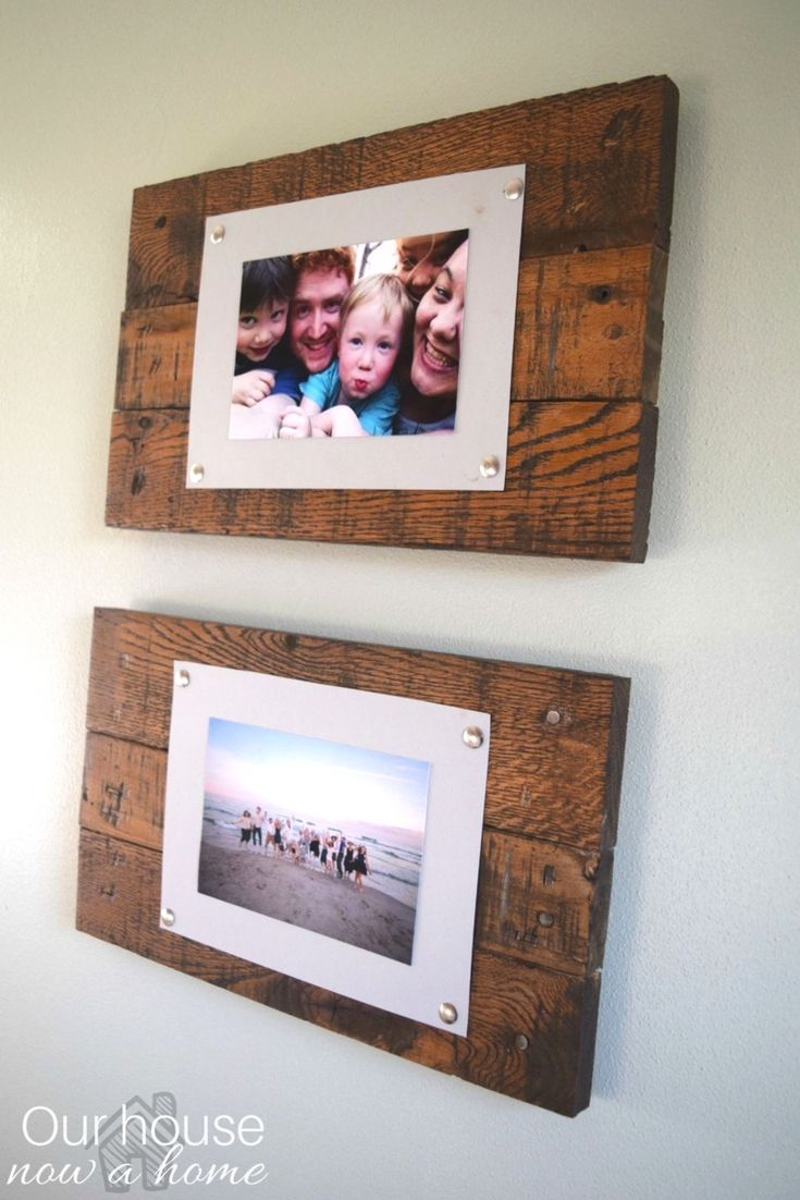 Easy To Make Wood Pallet Picture Frame And Display Adding A Rustic Simple Way Pictures Low Cost Diy Project