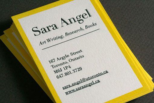 Pretty Yellow Border Letterpress Business Cards Graphic Design Business Card Business Card Inspiration