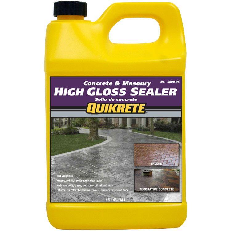 Quikrete High Gloss Sealer Wet Look Gal Qui 8800 06 Concrete Sealer Stained Concrete Paver Sealer