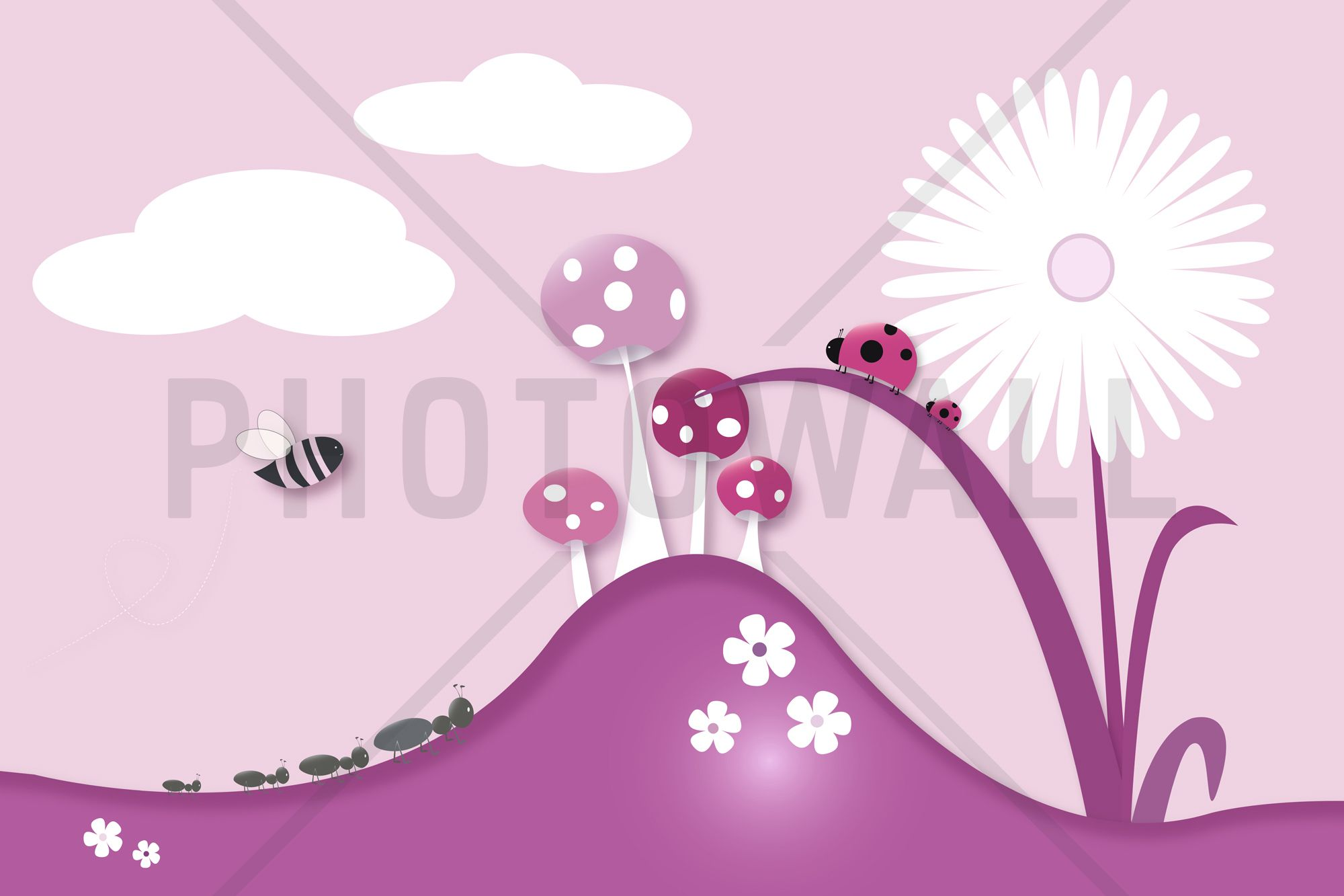 A Bugs World Pink Wall Mural Flora s Bedroom