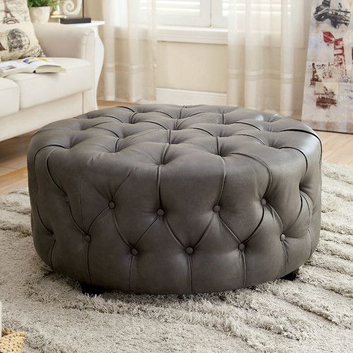 Found it at Wayfair - Leather Tufted Round Ottoman | For the Home ...