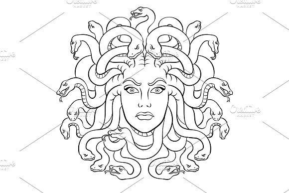 Medusa Greek Myth Creature Coloring Vector Greek Paintings Greek Myths Medusa Tattoo