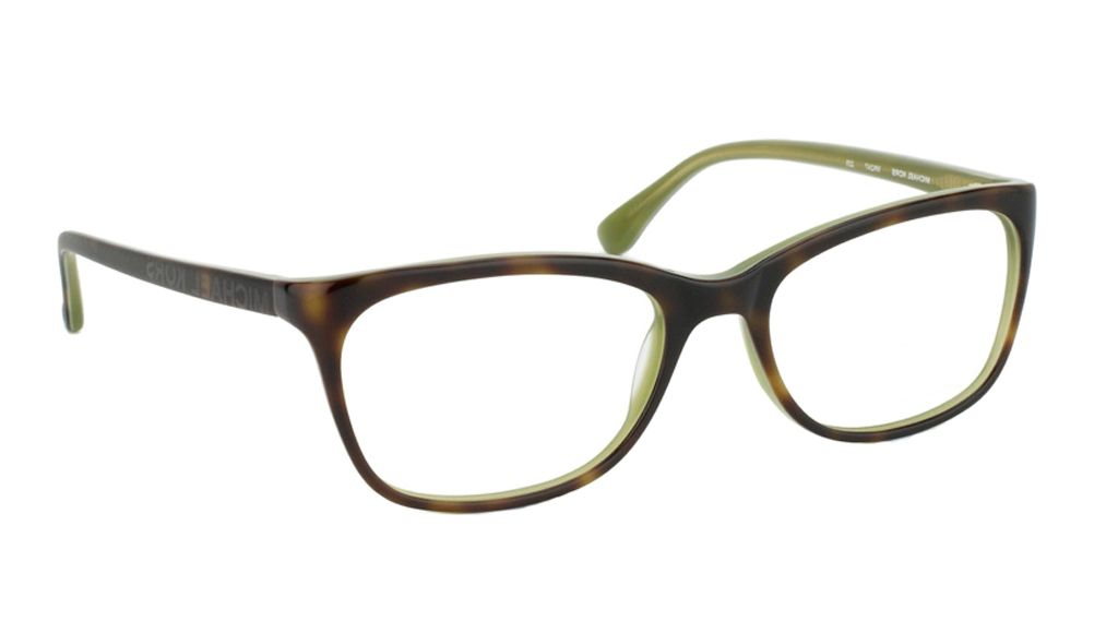 image showing the michael kors 225 glasses this is a tortoiseolive green full rimmed plastic frame angle view - Michael Kors Frames