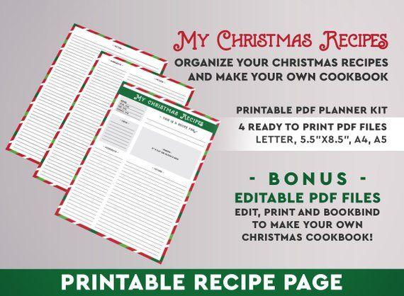 christmas recipe card printable recipes recipe binder recipe