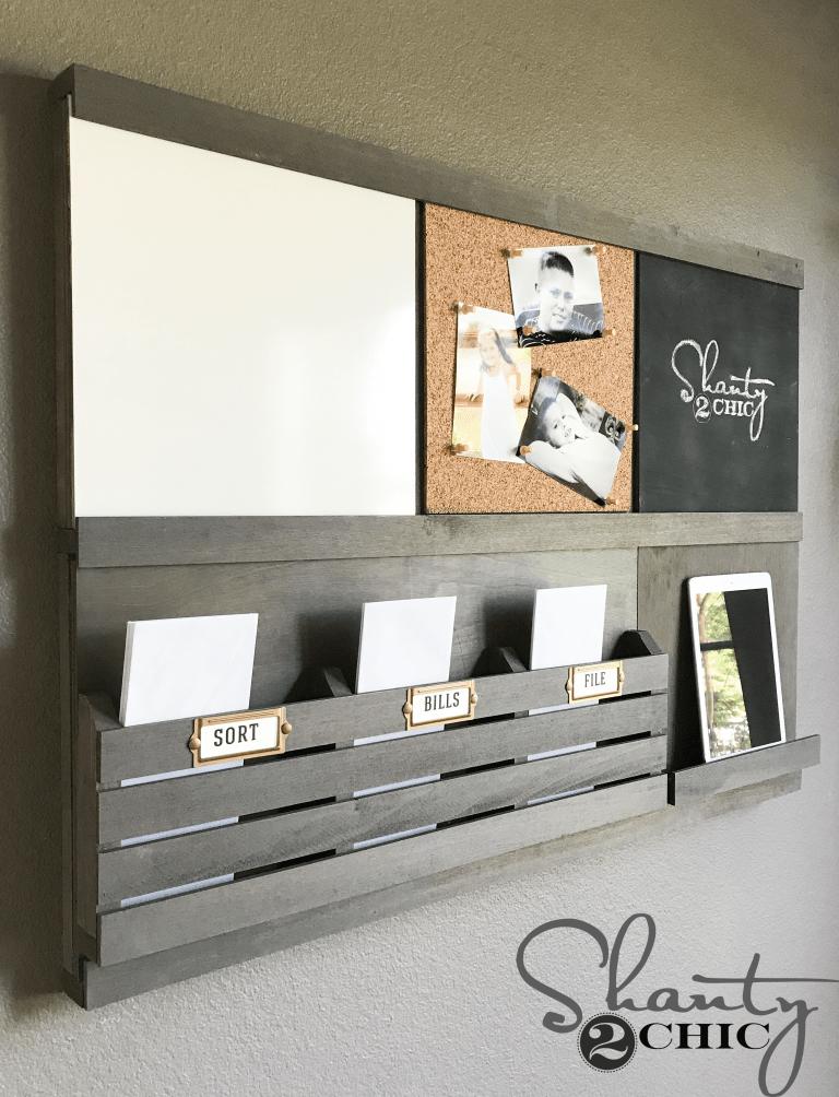 Custom DIY Wall Organizer - With Sliding Components - Shanty 2 Chic