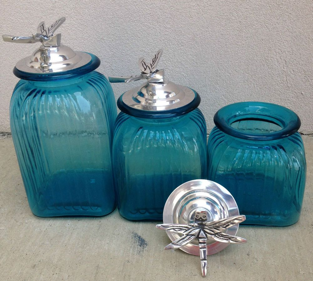 Ocean blue turquoise canister set with dragon fly ring lids ...