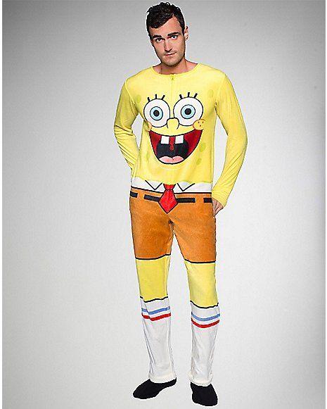 f5b0667f39a3 Sponge Bob Adult One Piece Pajama - Spencer s