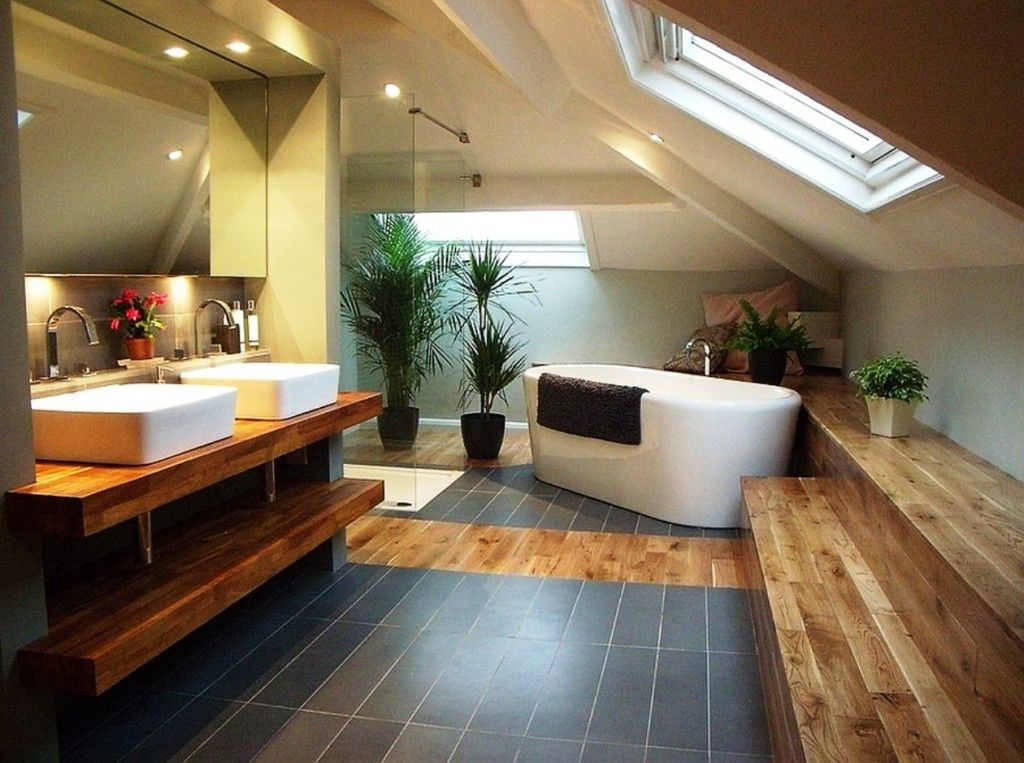 bathroom: warm loft bathroom interior with slanted ceiling and