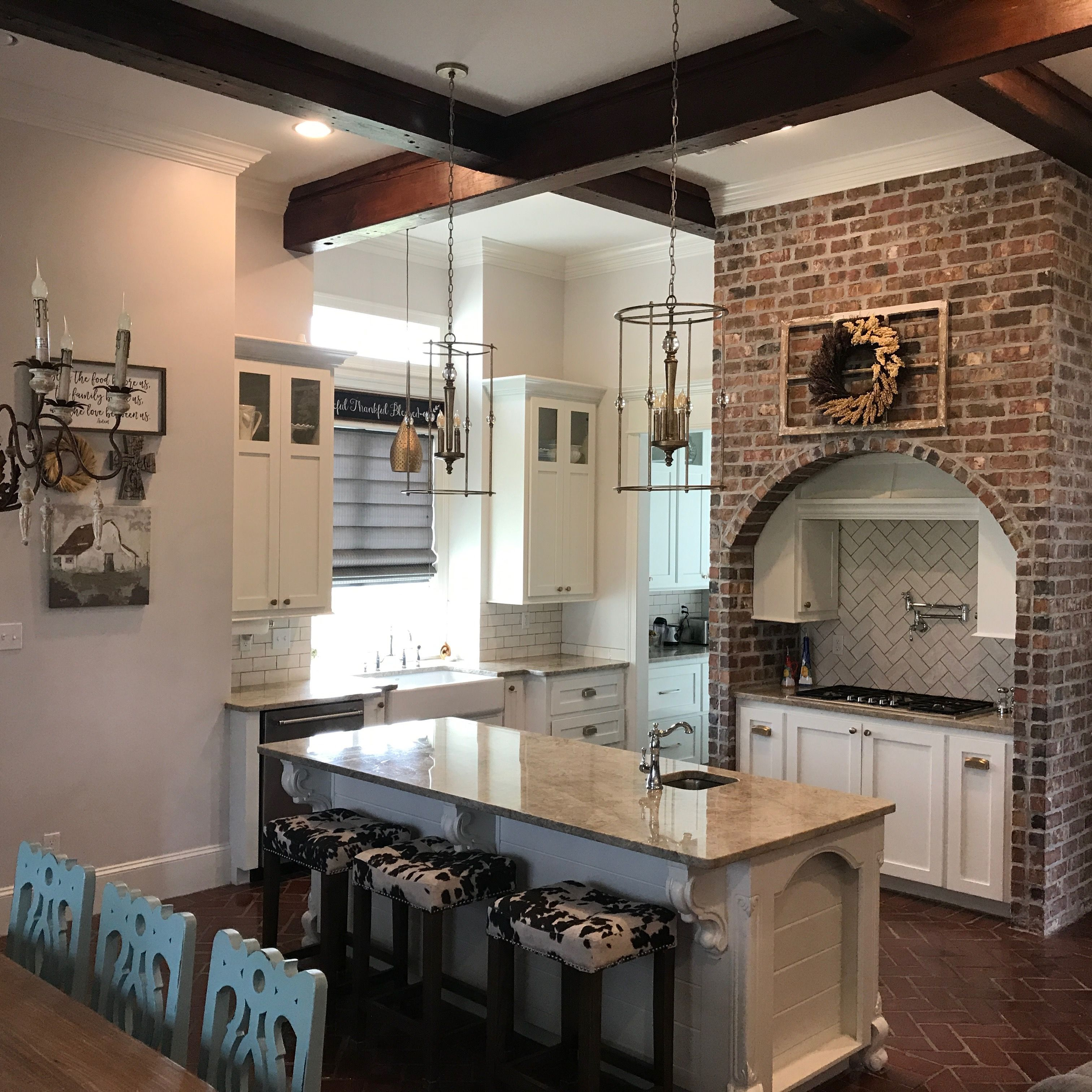 Kitchen with reclaimed wood beams antique brick flooring quartzite kitchen with reclaimed wood beams antique brick flooring quartzite countertops subway tile back dailygadgetfo Images