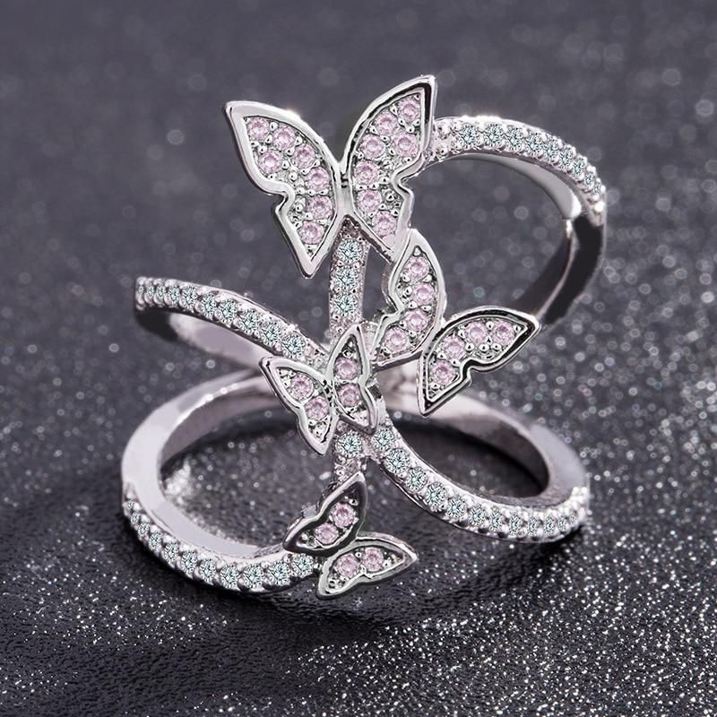 Crystal Studded Butterfly Ring Diamond wedding bands