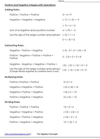 Positive And Negative Integer Rules Integers Integer Rules Negative Integers Positive and negative number worksheets