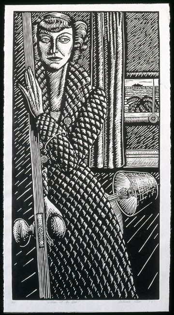 'Woman at the Door' (1996) by Australian artist Deborah Klein (b.1951). Linocut. 60.5 x 32.5 cm. via the artist's site