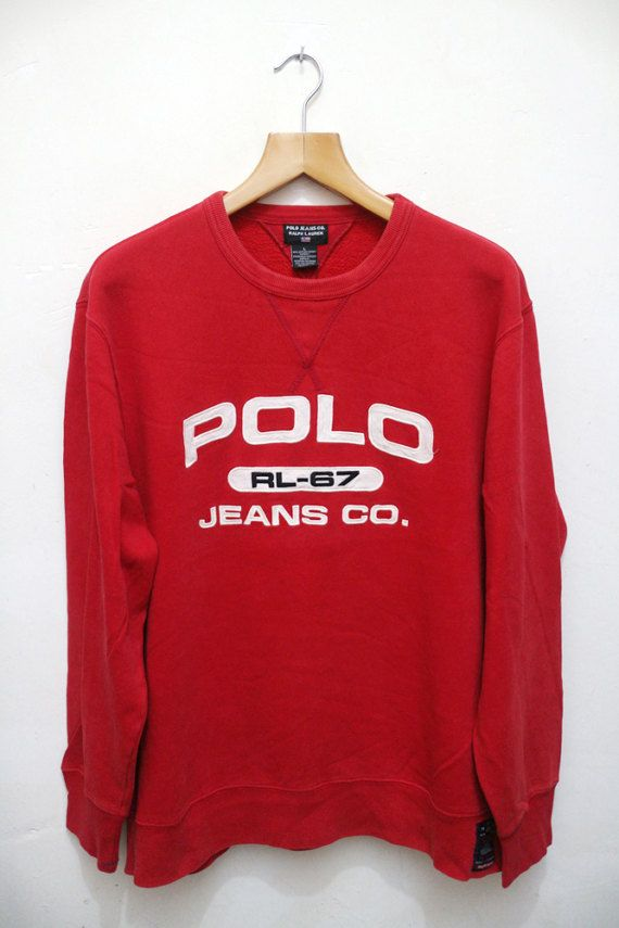 1295a471 Vintage POLO Ralph Lauren Jeans Co. RL-67 Red Sweater | Vintage ...