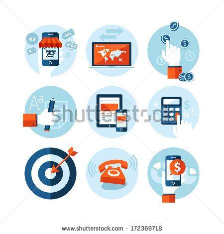 Design Ikonen set of modern flat design icons on e commerce theme icons for