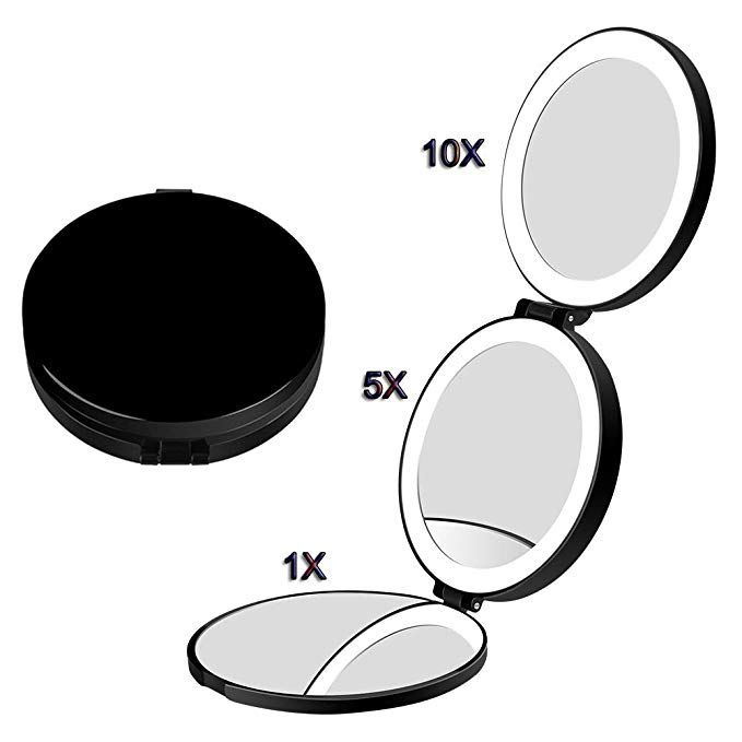 Lighted Travel Makeup Mirror Usb Rechargeable Compact Mirror 10x