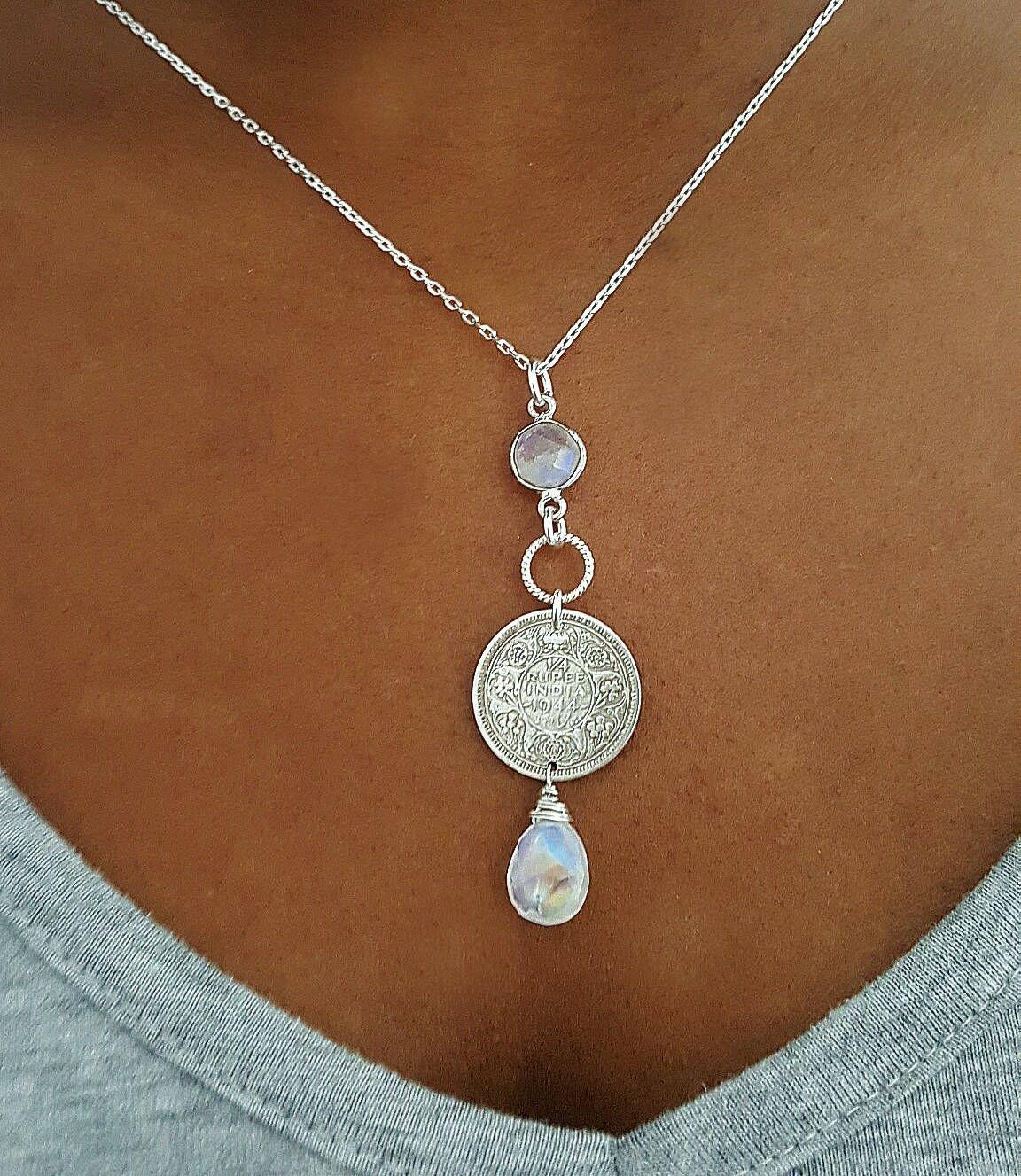 de21f2a8bf899 Moonstone coin necklace - Antique silver 1940s India quarter rupee ...