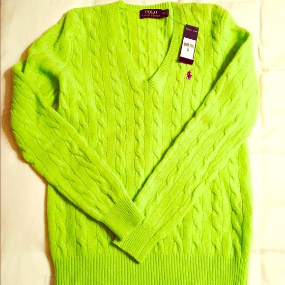 Cashmere Ralph Lauren Polo sweater NWT | Polo sweater, Green wool ...