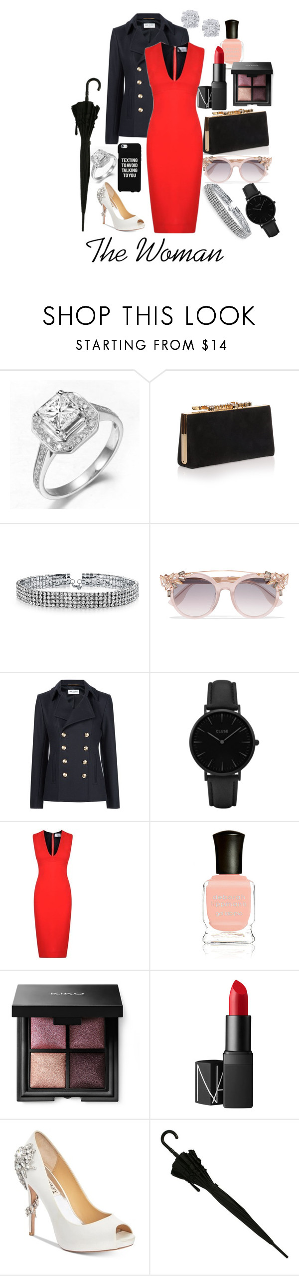 """The Woman (Irene Adler)"" by baritone-roe on Polyvore featuring Jimmy Choo, Bling Jewelry, Yves Saint Laurent, CLUSE, Victoria Beckham, Deborah Lippmann, NARS Cosmetics, Badgley Mischka, Effy Jewelry and Samsung"
