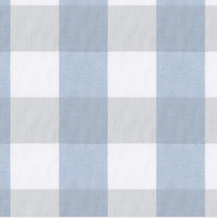 Soft blue, grey, and white buffalo check fabric Buffalo
