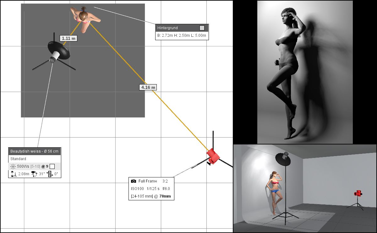 hight resolution of lighting diagram created in set a light 3d studio software