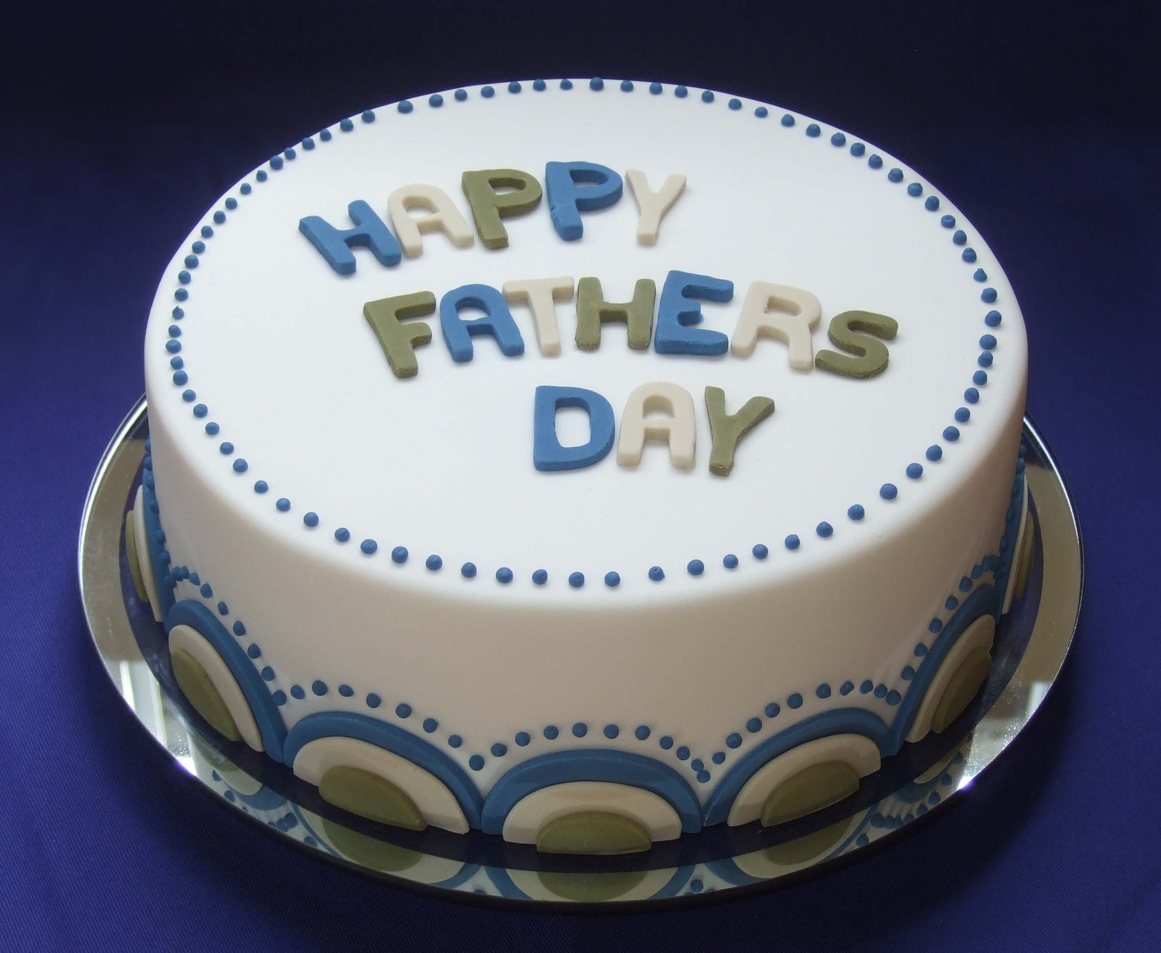 Simple Fondant White Blue Green Fathers Day Cake Dad Birthday