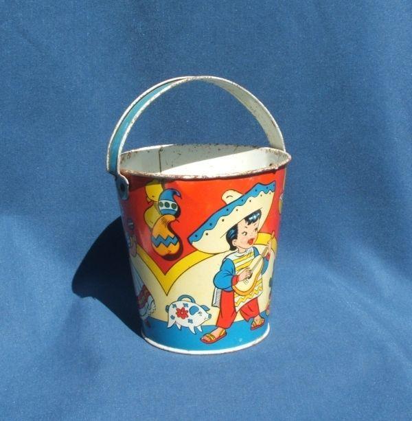 Vintage Ohio Art Mexican Boy And Girl Children Tin Litho Sand Pail Bucket And Spade Tin Toys Beach Toys