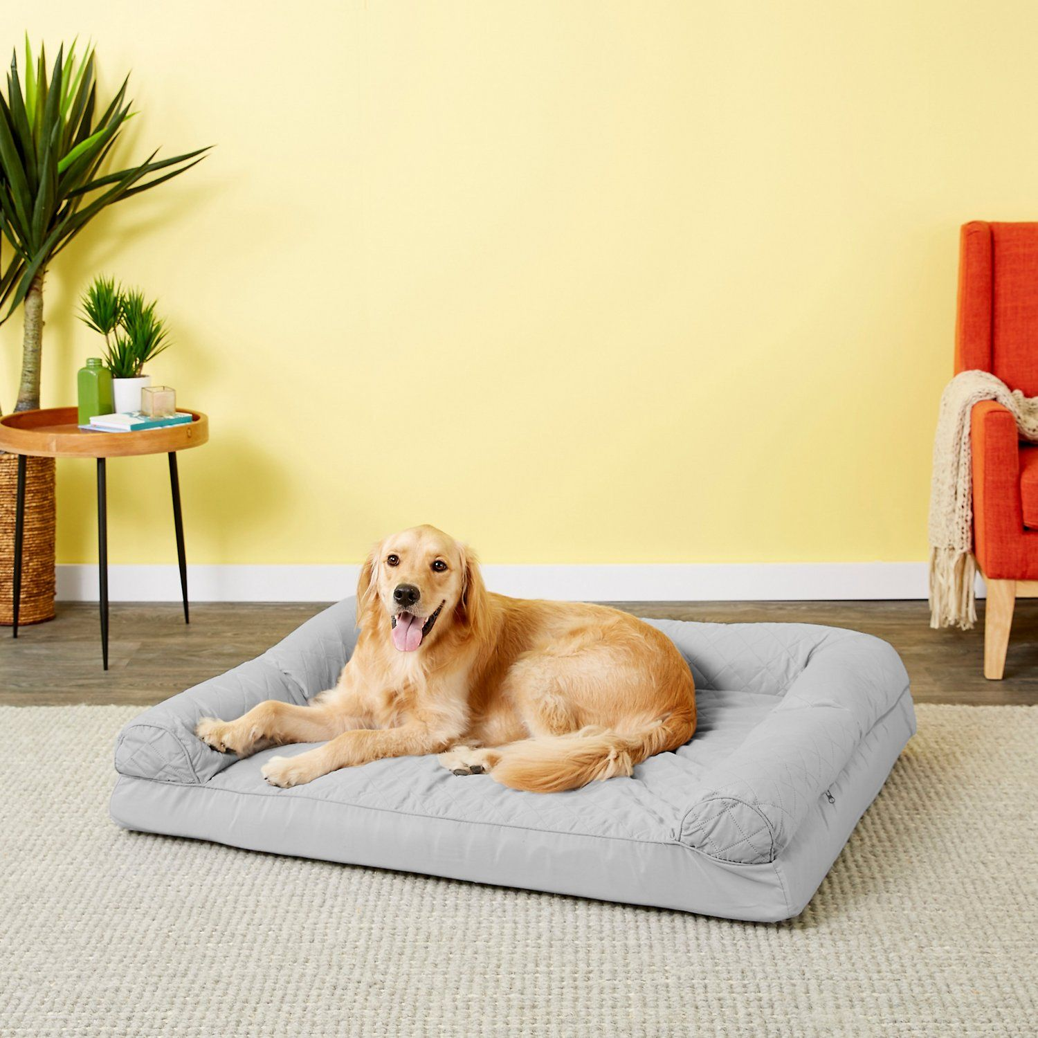 Furhaven Quilted Orthopedic Sofa Cat Dog Bed W Removable Cover Warm Brown Jumbo Chewy Com Dog Sofa Bolster Dog Bed Furhaven