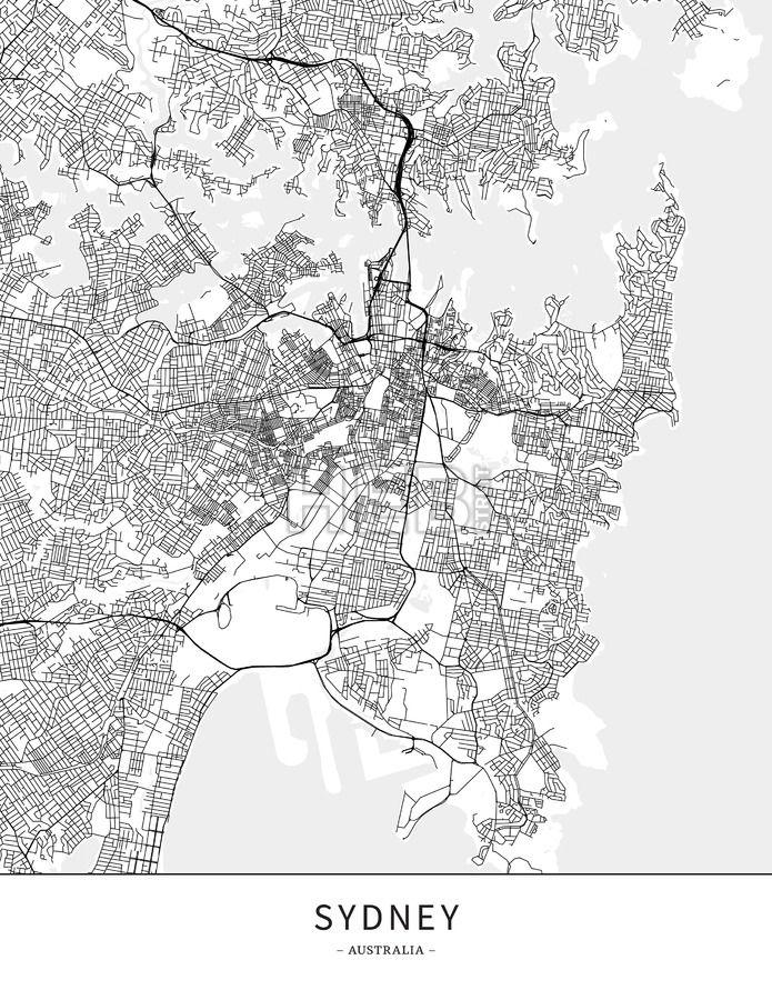 Australia Map Grey.Sydney Australia Map Poster Borderless Print Template Maps
