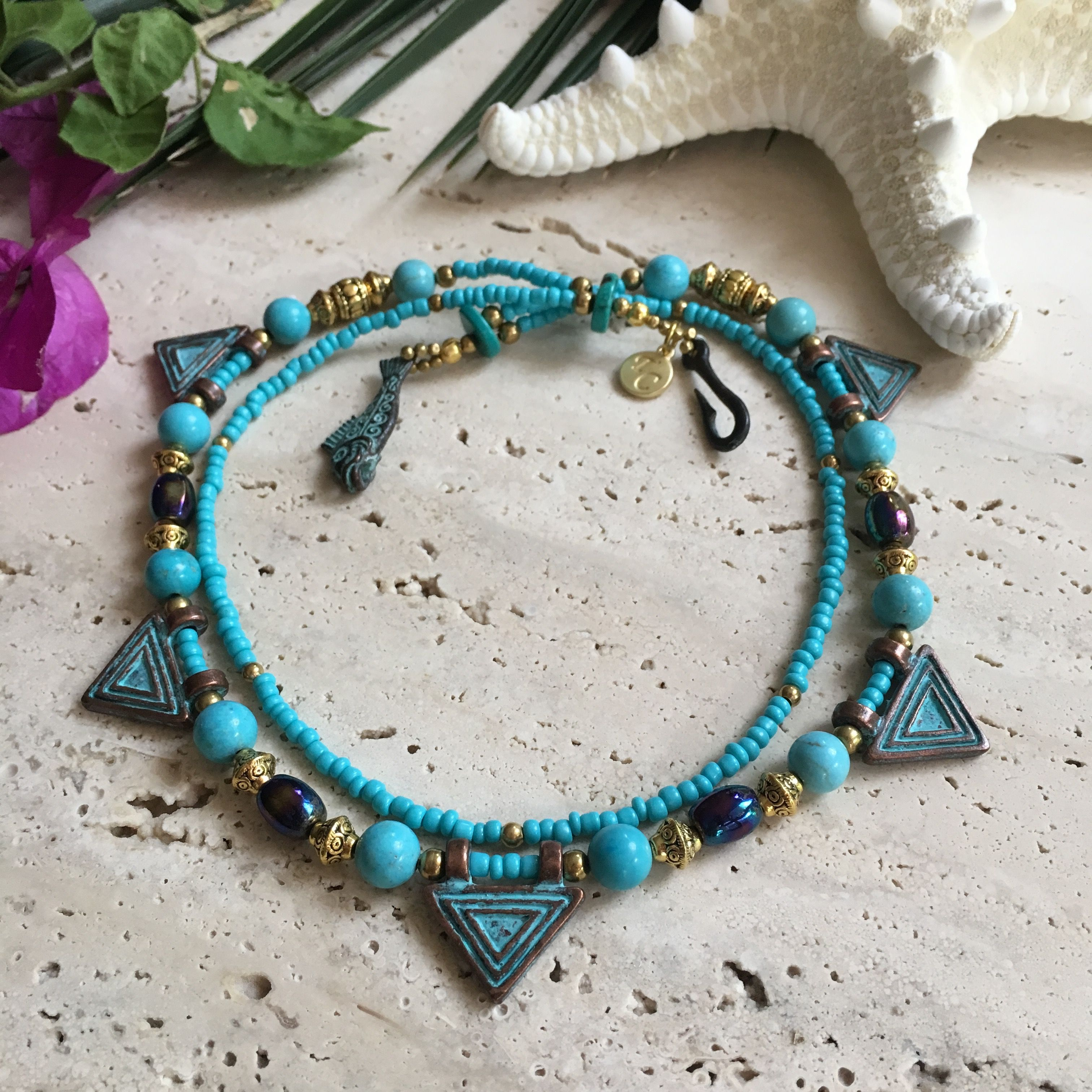 Brass Mykonos Aqua Necklace