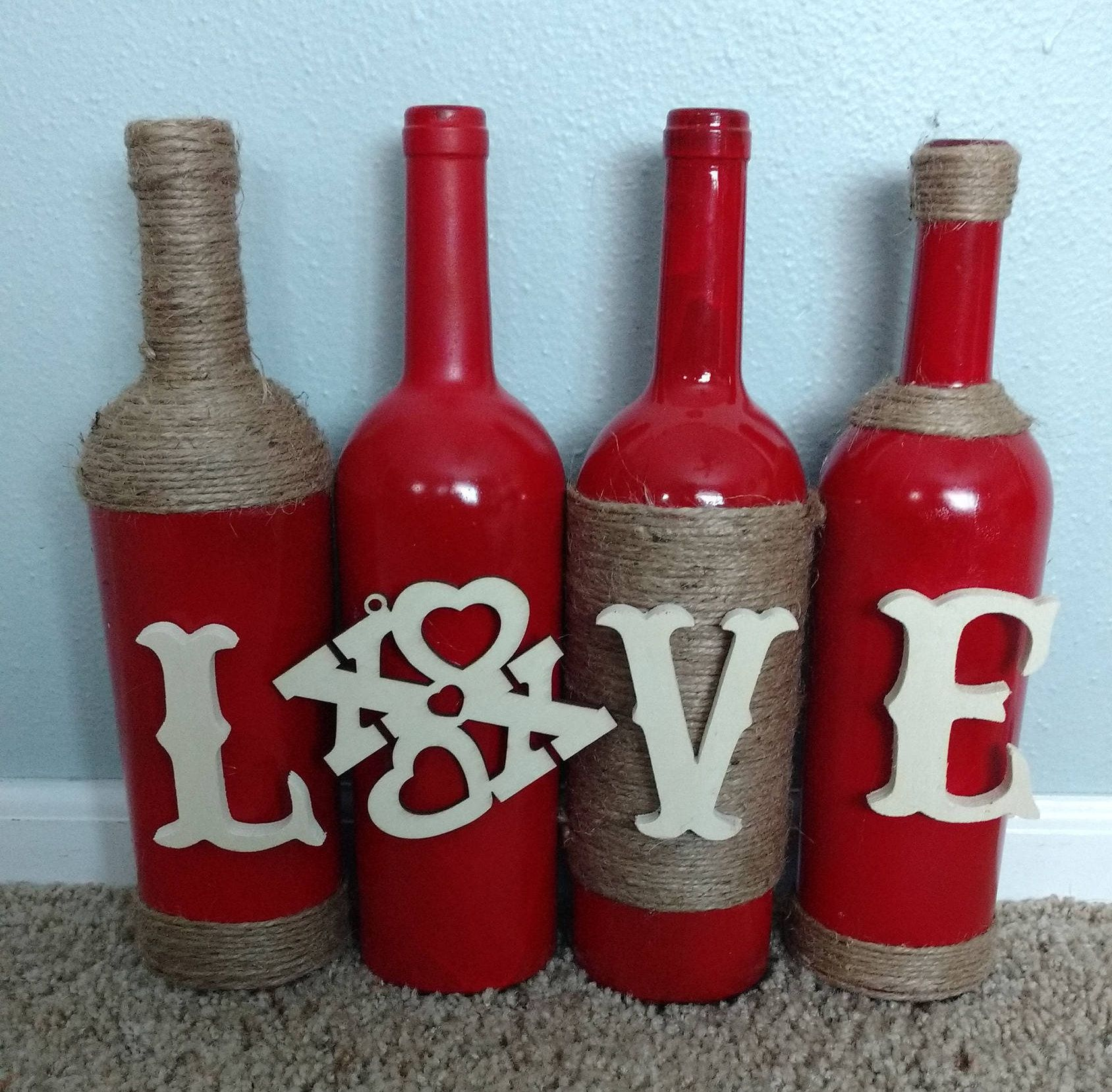 Pin By Tara Stevens On Cool Things Valentines Wine Bottle Crafts Valentines Wine Bottles Wine Bottle Crafts