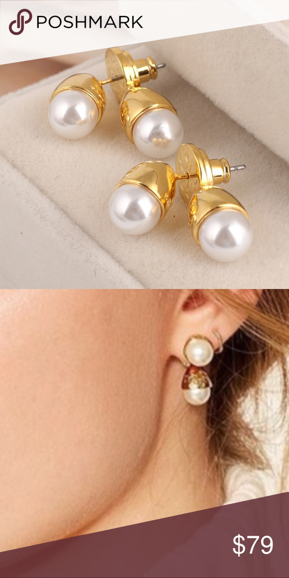 11df92aadf6 Tory Burch Front Back Faux Pearl Bud Earrings Tory Burch Front Back Faux  Pearl Bud Earrings Front: 0.5