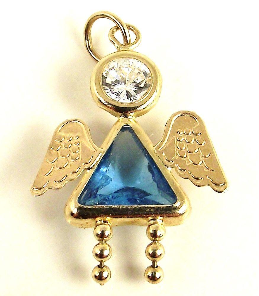 Details about girl kid baby k gold blue crystal december