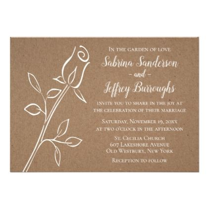 Floral Rose Flower Rustic Country Kraft Wedding Card - country wedding gifts marriage love couples diy customize