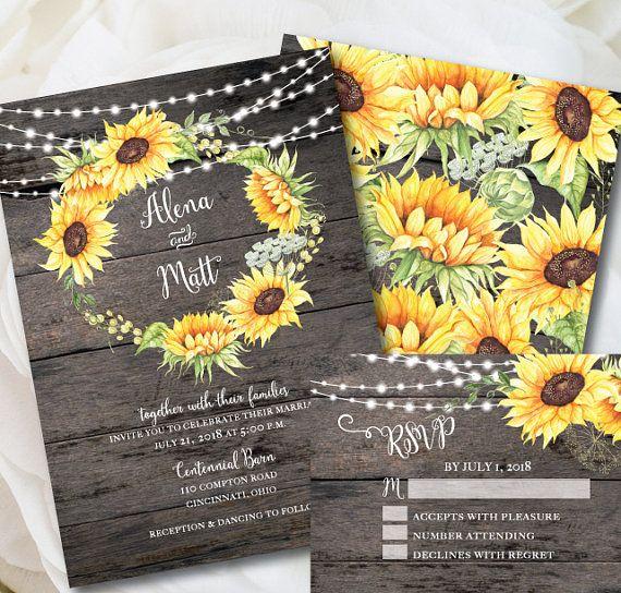 Cheap Rustic Wedding Invitation Kits: Rustic Wedding Invitation Template, Sunflower Invitation