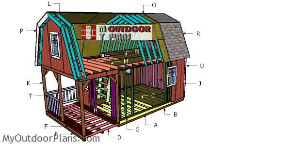 12x22 Gambrel Roof with Loft for Cabin DIY Plans MyOutdoorPlans