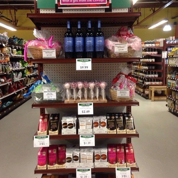 Surprise your Valentine with a gift from the CoOp! We have chocolates wine cake pops gift baskets champagne and more! And pick up a locally-made gift card to top off your amazing gift.
