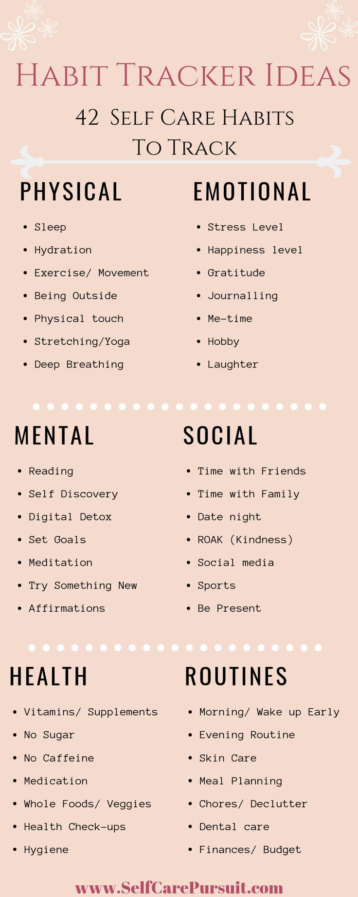 Looking for new Habits to Track to help with your Self Care Routine? Check out the latest blog post from Self Care pursuit highlighting habits to track to for you Physical, Emotional, Mental, and Social Self Care Health! #Mentalhealth #selfcare #SelfCarePursuit #Habit #BulletJournal #HabitTracker